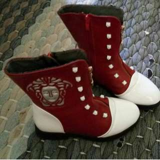 Red white boot
