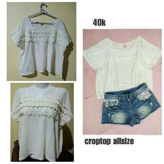 Crop Top Putih Gading Import