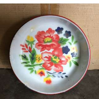 Vintage Enamel Tray with Hibiscus Flowers