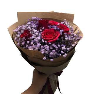 Blushing Lavender (6 Red Roses with Purple Baby Breaths Floral Bouquet)