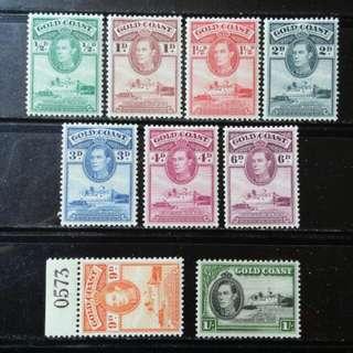 [lapyip1230] 英屬黄金海岸 1938年 喬治六世 全套至壹仙令 Mint