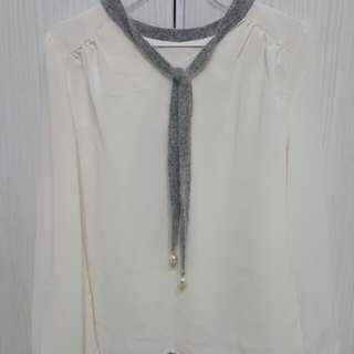 🚚 白色雪紡上衣  韓貨賣家購入