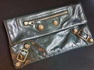 Balenciaga baby leather clutch with tan gold hardware