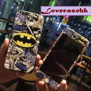 手機殼IPhone6/7/8/plus(沒有X) + 前膜 : 蝙蝠俠全包邊軟殼