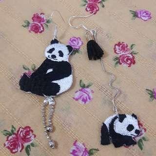 (耳飾)手作 熊貓繡章鴛鴦耳環