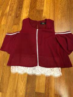 Dark Red cold shoulder top with lace