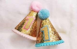 Baby first birthday hat (Pink/Blue)