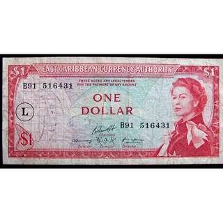 1965年英屬東加勒比(British East Carribean)貨幣管理局英女皇伊莉莎伯二世像壹圓(Dollar)鈔票