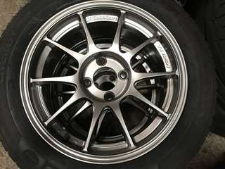 "Original wedsport tc105n 15"" x 6.5j +43 4x100 with Michelin energy saver tires 185/60/15"