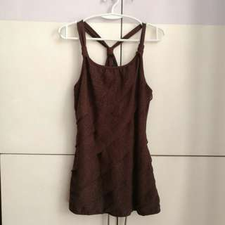 Leopard Print Brown Racerback Sleeveless Top