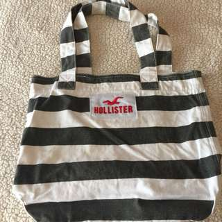 Authentic Hollister Charcoal and White Tote Bag