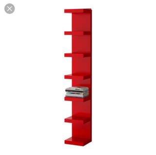 Ikea Lack Wall Shelf Unit, Red (30x90cm)