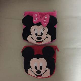2 For $8 - BN Disney Mickey & Minnie Mouse drawstring pouch (velvet material)