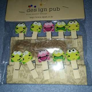 Frog Photo Wall Wooden Clips