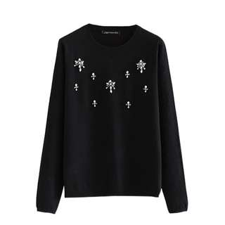 (More Cols) Embellished Detail Knitted Cotton Jumper