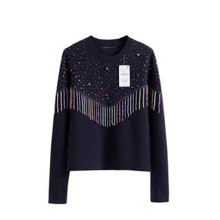 Designer Inspired Hot Pressed Embellished and beaded drop detail Jumper