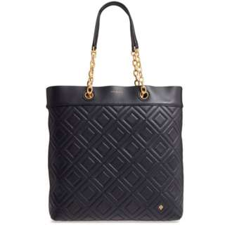 Authentic Tory Burch Fleming Medium Tote Quilted Leather Shoulder Handbag