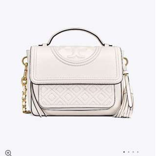 Tory Burch leather Fleming Satchel White Colour