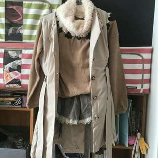 Korea Jepang Coat Set Axes Femme