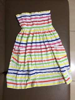 Strapless rainbow striped dress