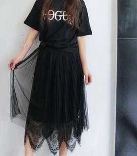 🚚 鬆緊蕾絲壓紋蕾絲裙