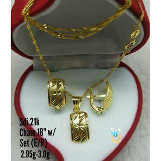 21K SAUDI GOLD SET ( CHAIN, PENDANT & EARRINGS ) <>><<>