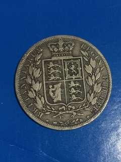 1885年 英國 維多利亞女皇 Half Crown 銀幣