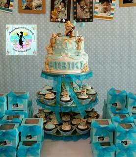 Bear Theme Cake and Cupcake Tower