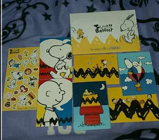 Snoopy PEANUTS  postcards x 6 & Sticker x 1 (By mail only) BOSSINI
