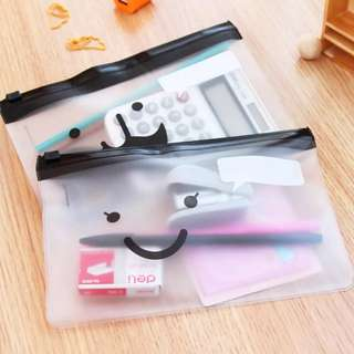 2pcs Clear Adhessive Pencil Case /Cosmetic Pouch