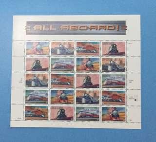 1998年美國火車郵票小版