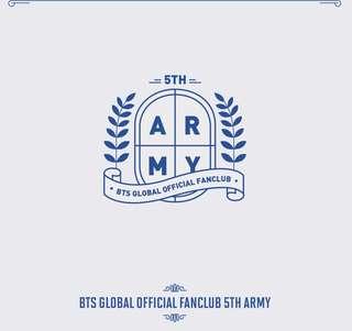 BTS OFFICIAL FANCLUB 5TH 5기 ARMY MEMBERSHIP KIT