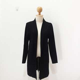 🆕Brand New Blazer Knit Pocket Long Black Cardigan With Defect