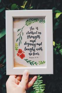 Personalized framed watercolor quote and flower design