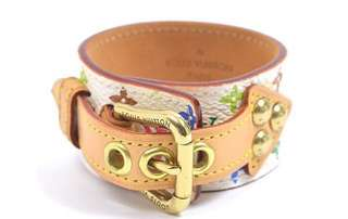 AUTHENTIC LV LOUIS VUITTON Monogram Multicolour Leather Bracelet Cuff