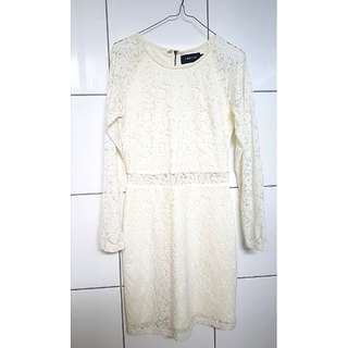 RRP$149.95 Mink Pink White Lace Long Sleeve Dress