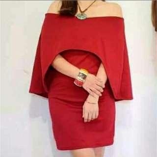 Cape Off Shoulder Dress
