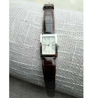 Pierre Cardin Brown Genuine Leather Silver Rectangular Dress Watch with Roman Numerals