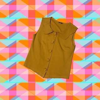 Mustard collared top