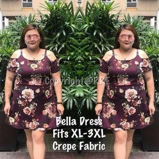 PLUSSiZE/BELLA DRESS rt-P380 Freesize/Onesize/Fits XL-3XL Crepe Fabric SATURDAY CUTOFF/ SUNDAY PICKUP/ MONDAY SHIPPING