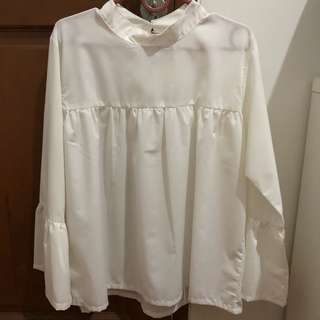 Beatrice clothing off white bell sleeve blouse