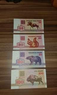 白俄羅斯動物系列一套4張