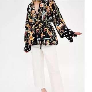 European and American style floral print suit collar tassel belt was thin retro loose kimono cardigan shirt