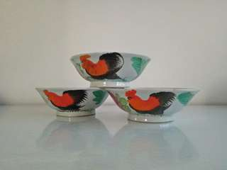 Classic 60s rooster bowl height 6cm diameter 17cm unused mint condition 3pcs $39