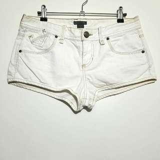 Armani Exchange Vintage Denim Off White Shorty Shorts
