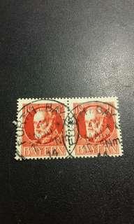 1914 德國拜仁 兩連郵票