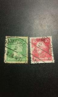 1927/28 德國法蘭克福印郵票x2