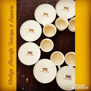 Vintage NESCAFE Porcelain Cups and Saucers. Regular size. 6 sets for $12 Clearance offer! Unused, Good Condition no chip no crack. Sms 96337309.