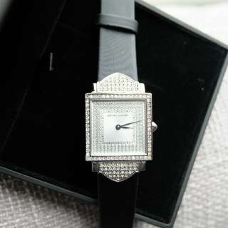 Pierre Cardin Black Leather Band Square Case Encrusted with Crystal Dress Watch