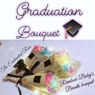 Graduation Bouquet/flowers - Congratulate the Graduate with a Rainbow Baby's Breath Bouquet that lasts up to 5 yrs without watering and sunlight, Congratulations, Congratulatory